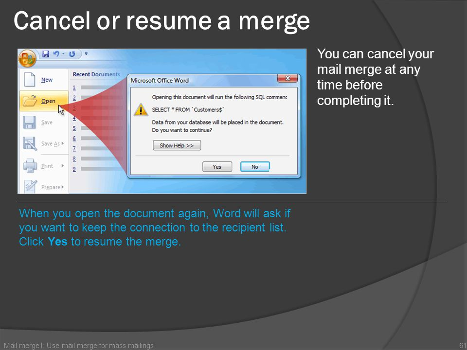 Cancel or resume a merge