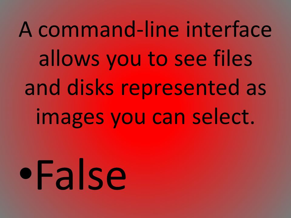 A command-line interface allows you to see files and disks represented as images you can select.