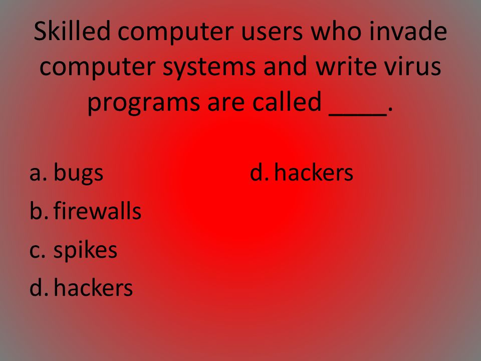 Skilled computer users who invade computer systems and write virus programs are called ____.