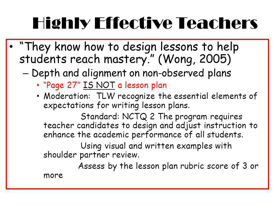 Highly Effective Teachers