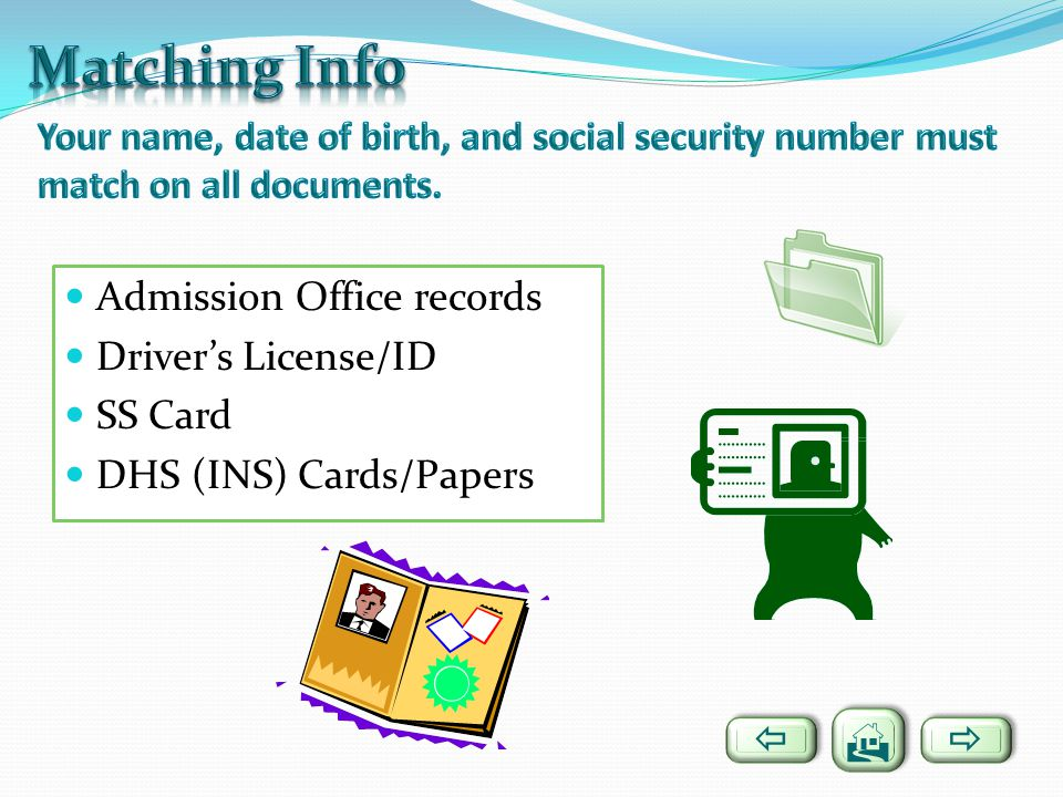 Matching Info Admission Office records Driver's License/ID SS Card