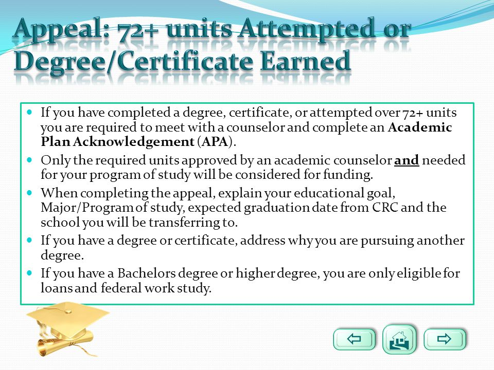 Appeal: 72+ units Attempted or Degree/Certificate Earned