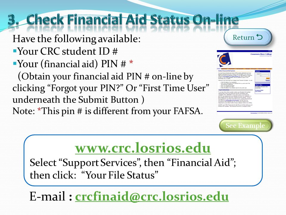 3. Check Financial Aid Status On-line
