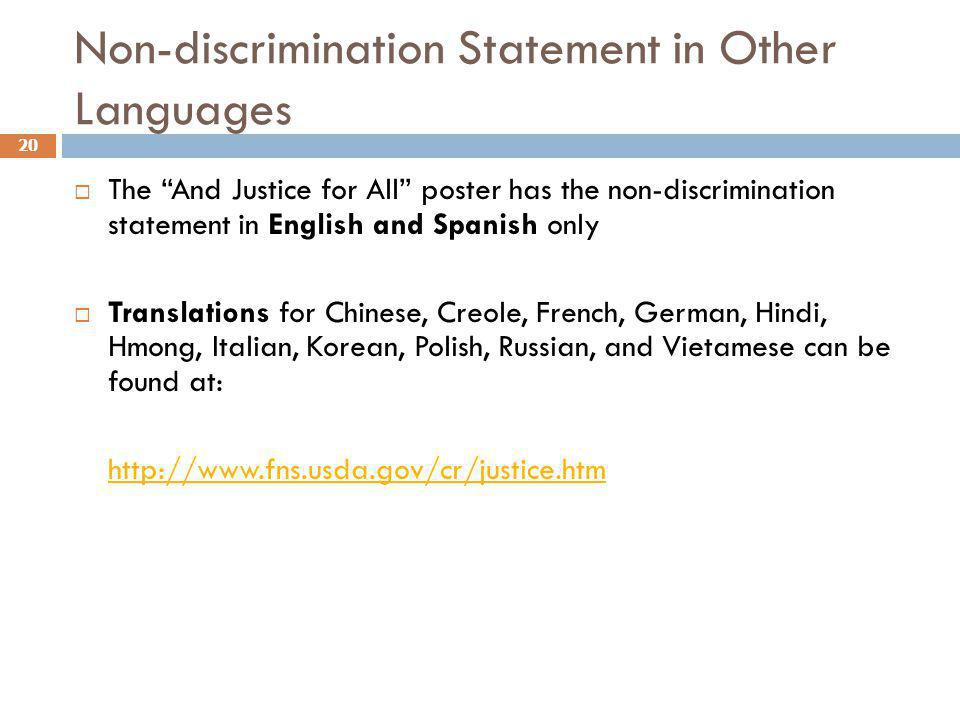 Non-discrimination Statement in Other Languages
