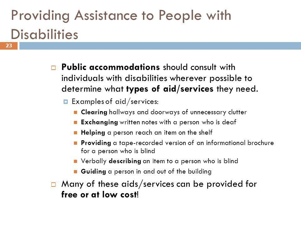 Providing Assistance to People with Disabilities