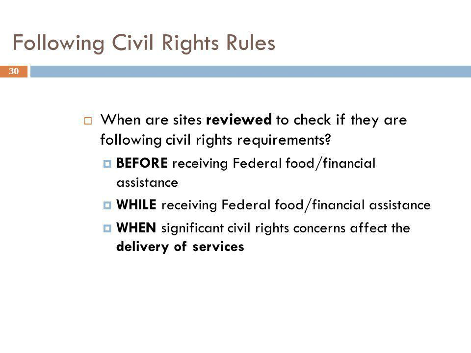 Following Civil Rights Rules
