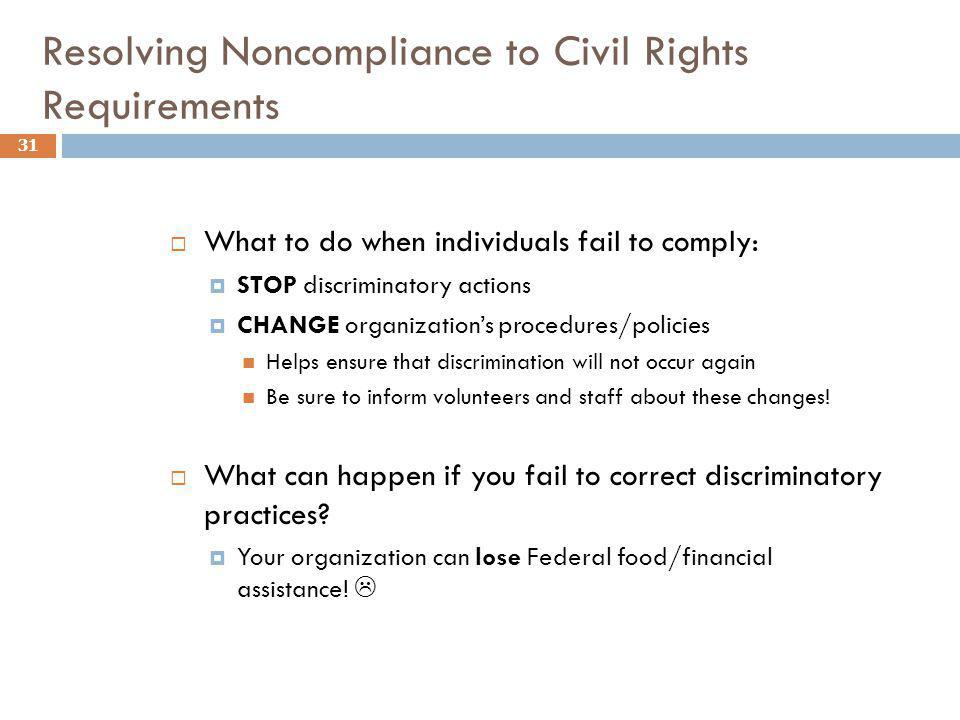 Resolving Noncompliance to Civil Rights Requirements