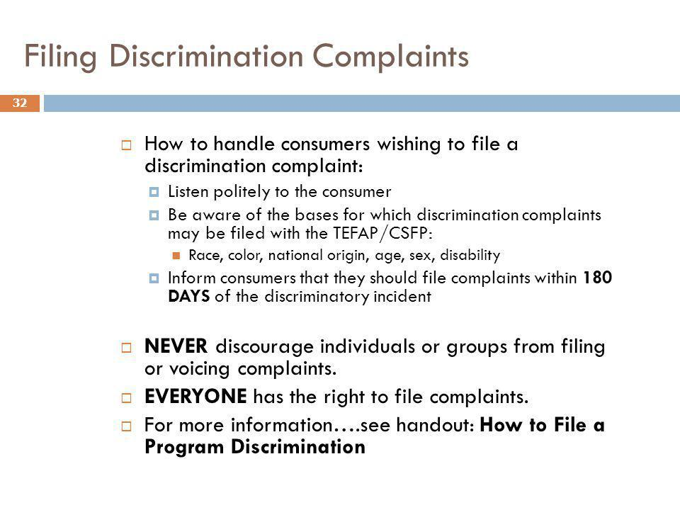 Filing Discrimination Complaints
