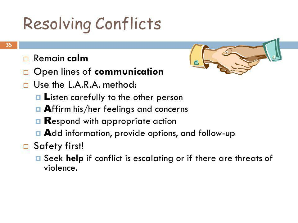 Resolving Conflicts Remain calm Open lines of communication