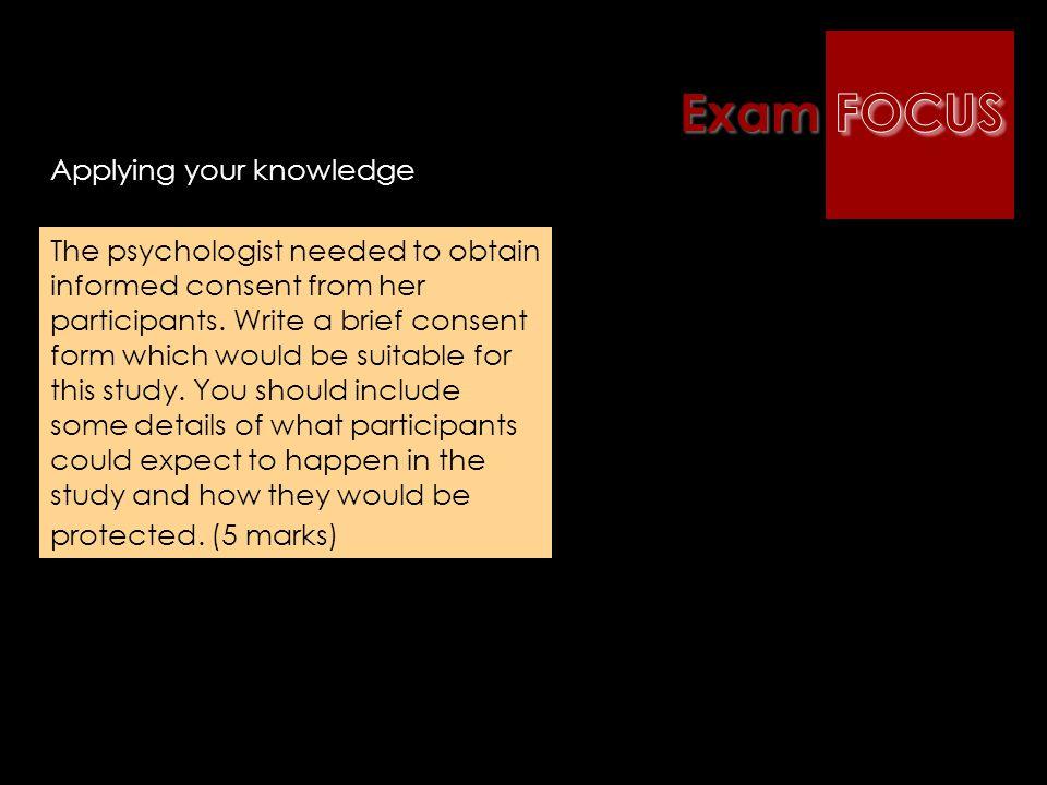 Exam FOCUS Applying your knowledge