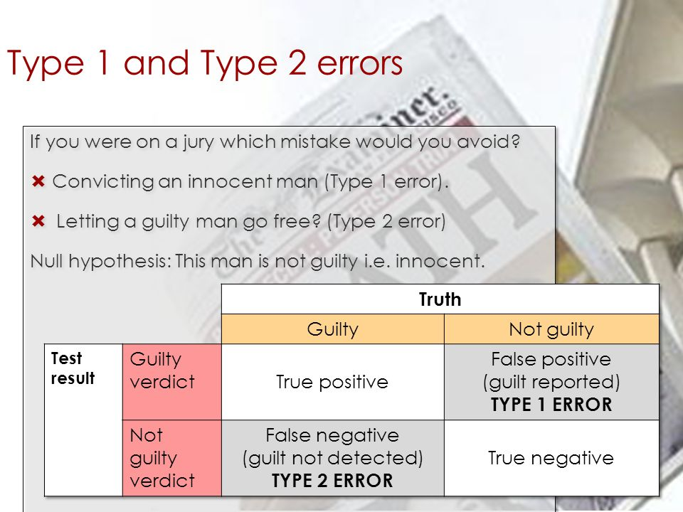 Type 1 and Type 2 errors If you were on a jury which mistake would you avoid Convicting an innocent man (Type 1 error).