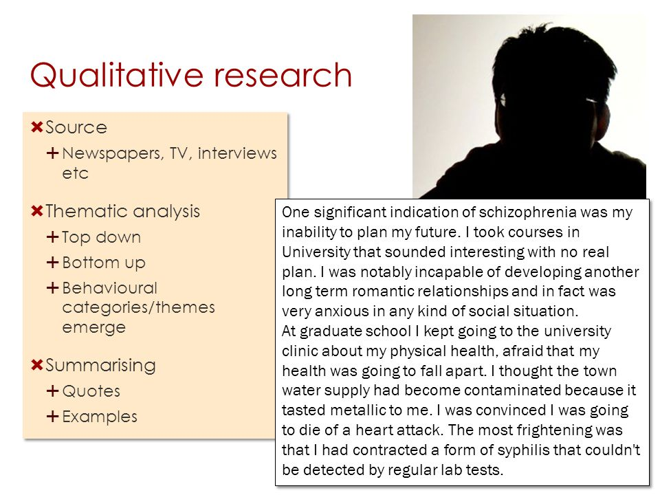 Qualitative research Source Thematic analysis Summarising