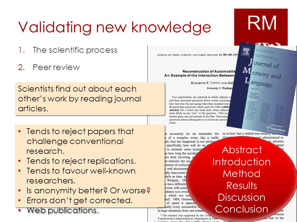 Validating new knowledge