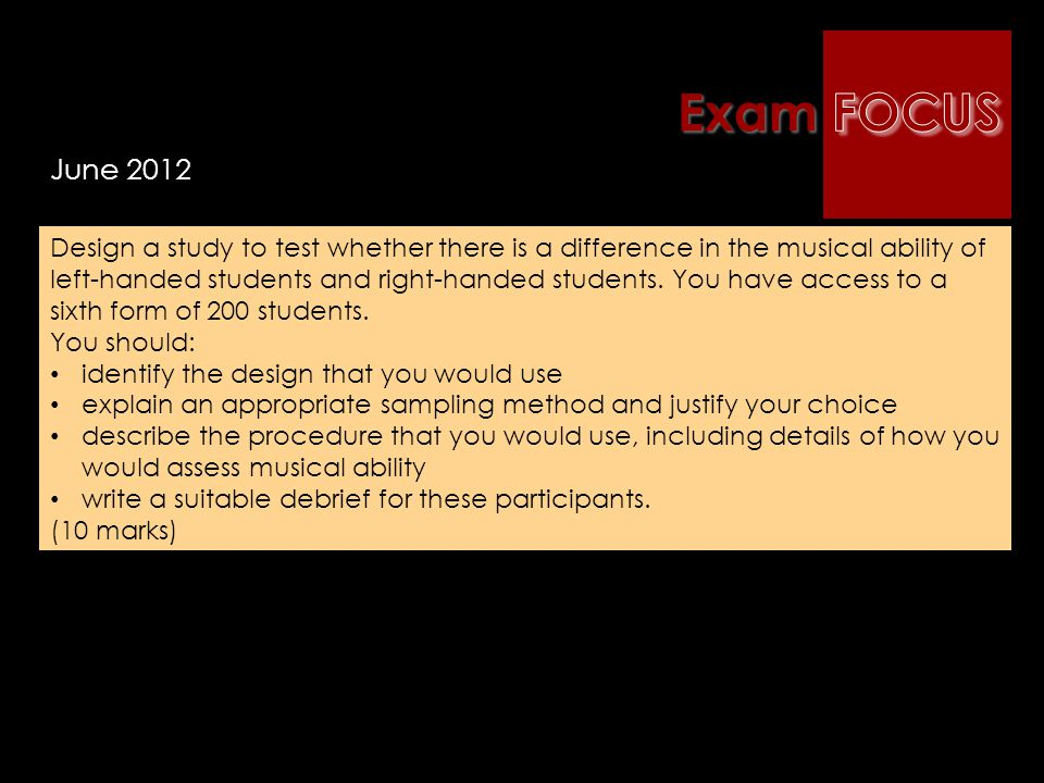Exam FOCUS June 2012.