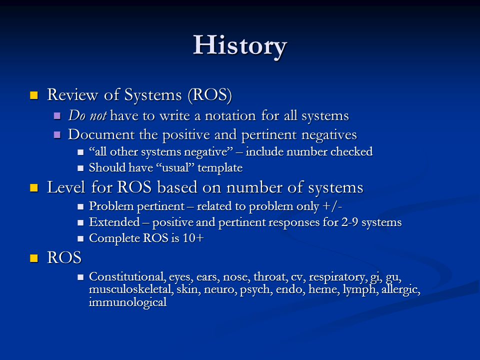 History Review of Systems (ROS)