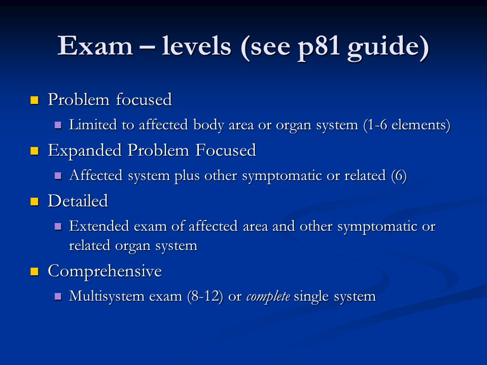 Exam – levels (see p81 guide)