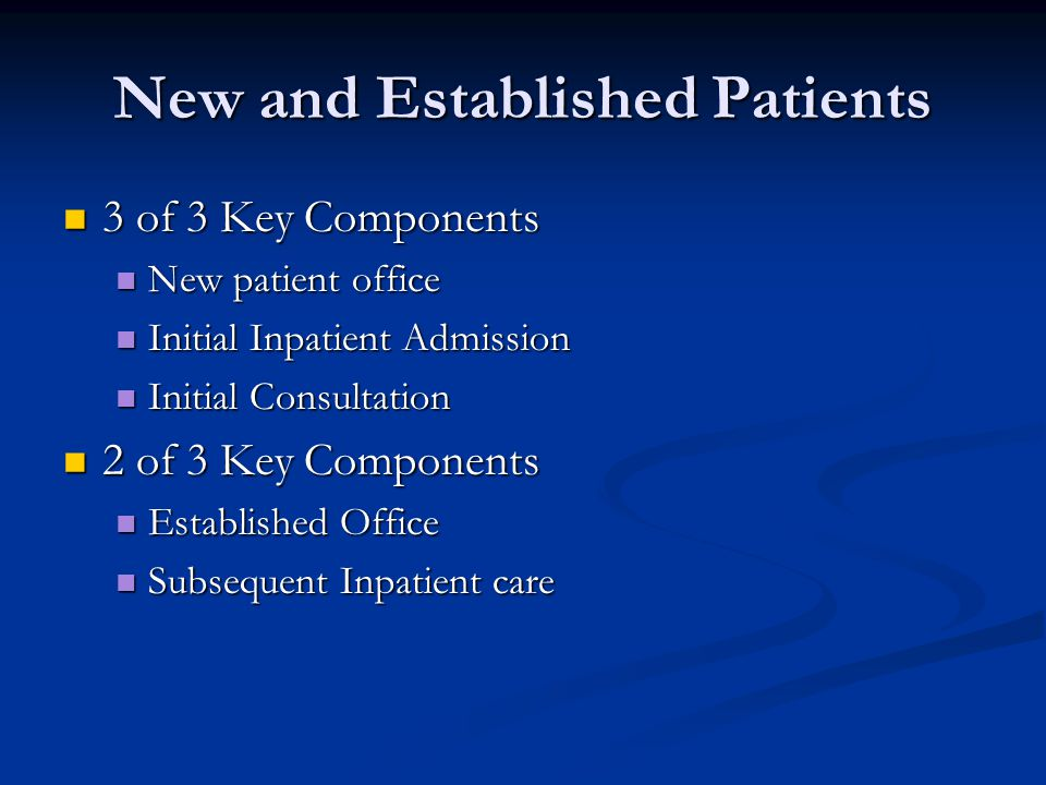 New and Established Patients