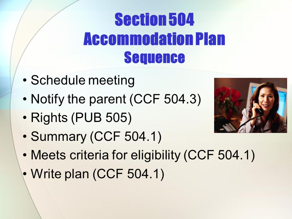 Section 504 Accommodation Plan Sequence