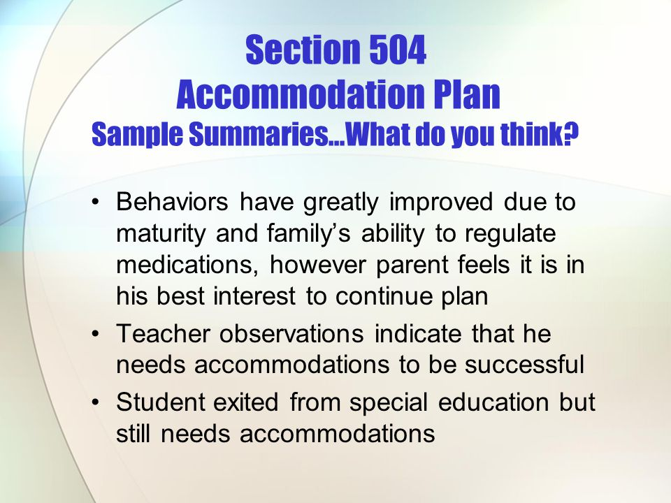 Section 504 Accommodation Plan Sample Summaries…What do you think
