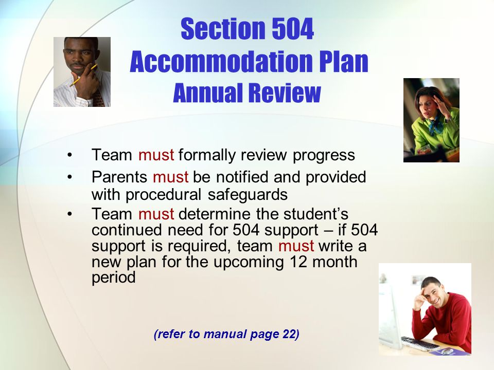 Section 504 Accommodation Plan Annual Review