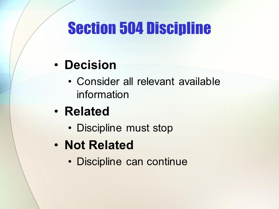 Section 504 Discipline Decision Related Not Related