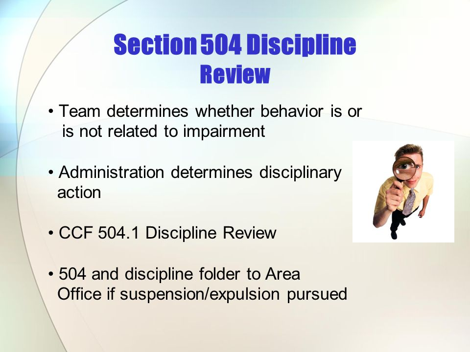 Section 504 Discipline Review