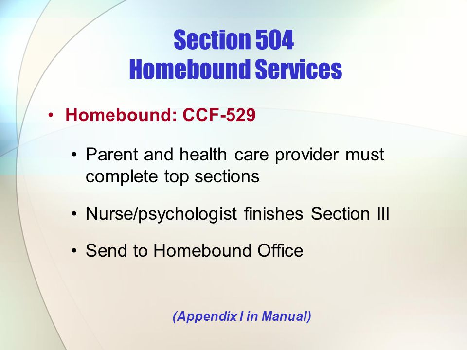 Section 504 Homebound Services