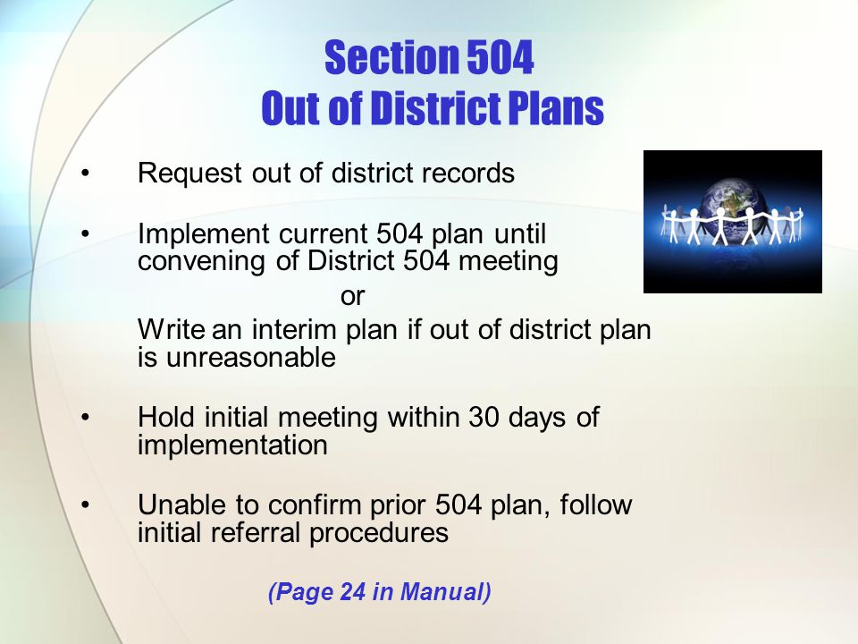 Section 504 Out of District Plans