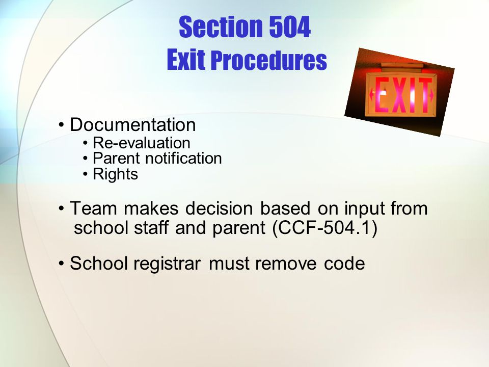 Section 504 Exit Procedures