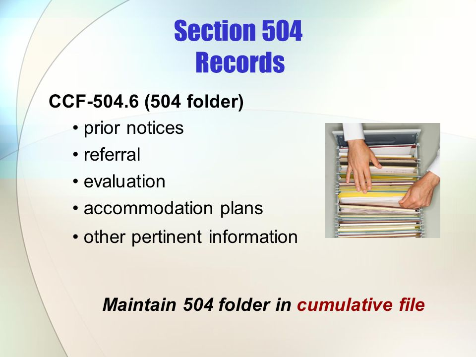 Section 504 Records CCF-504.6 (504 folder) prior notices referral