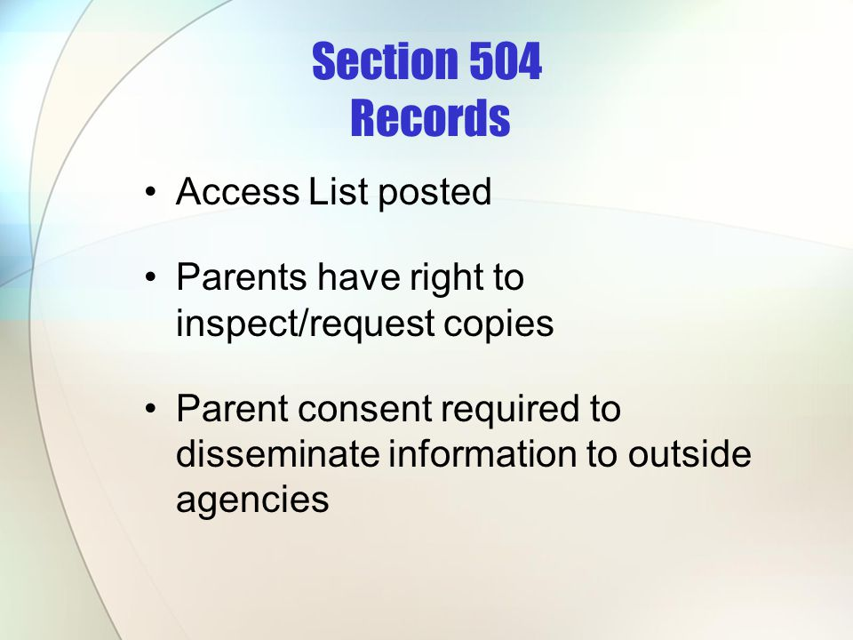 Section 504 Records Access List posted
