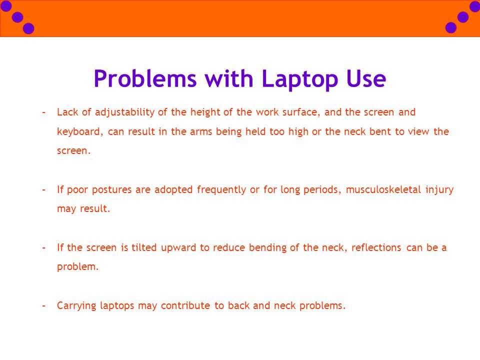 Problems with Laptop Use