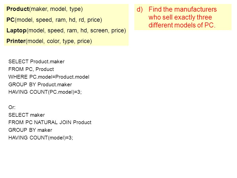 Product(maker, model, type)