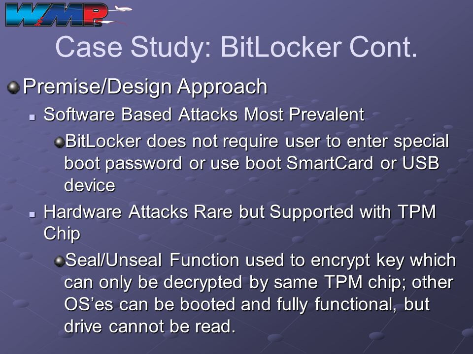 Case Study: BitLocker Cont.