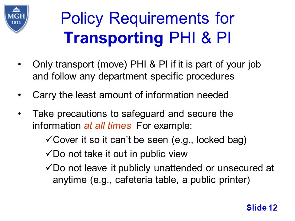 Policy Requirements for Transporting PHI & PI
