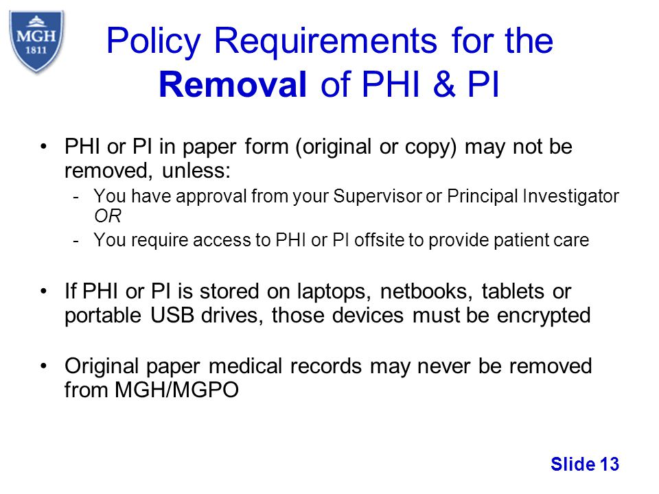 Policy Requirements for the Removal of PHI & PI