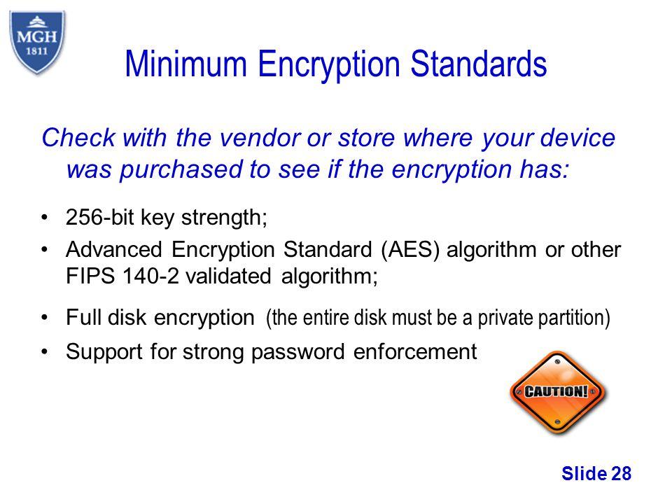 Minimum Encryption Standards