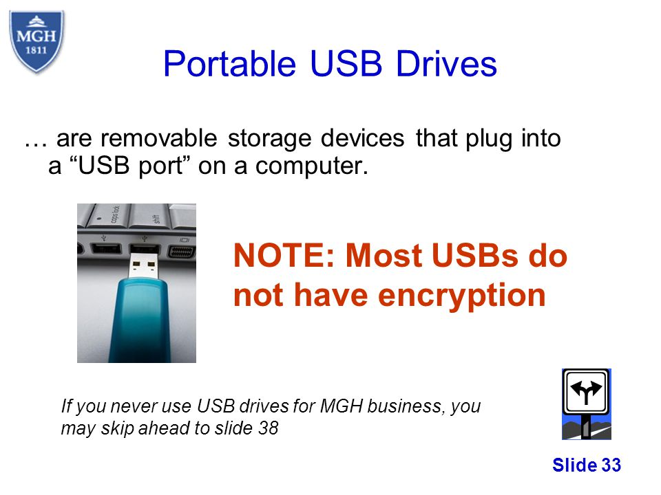 Portable USB Drives NOTE: Most USBs do not have encryption
