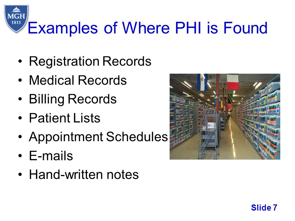 Examples of Where PHI is Found