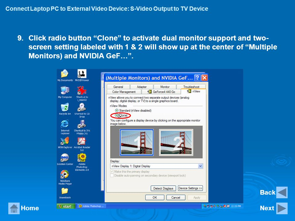 Connect Laptop PC to External Video Device: S-Video Output to TV Device
