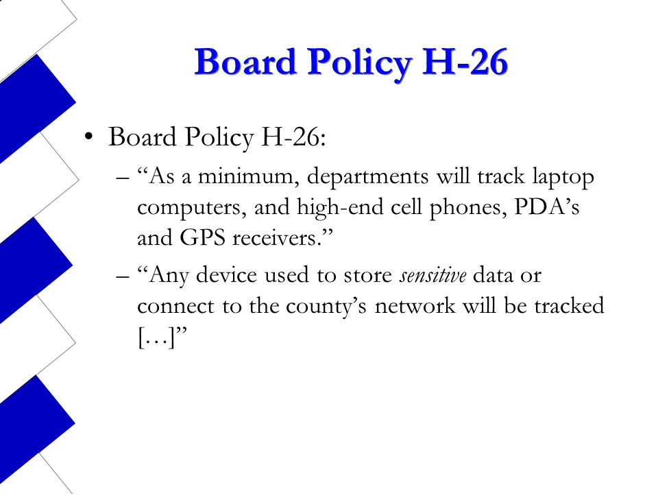 Board Policy H-26 Board Policy H-26: