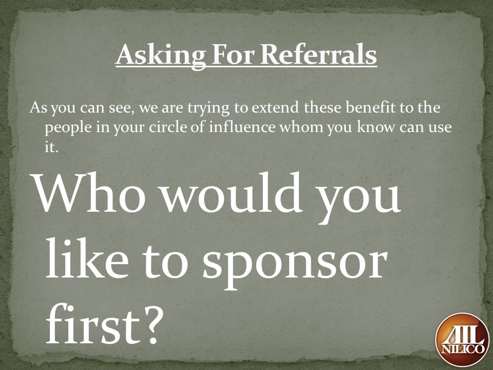 Who would you like to sponsor first