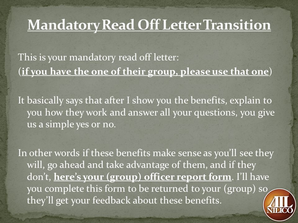 Mandatory Read Off Letter Transition