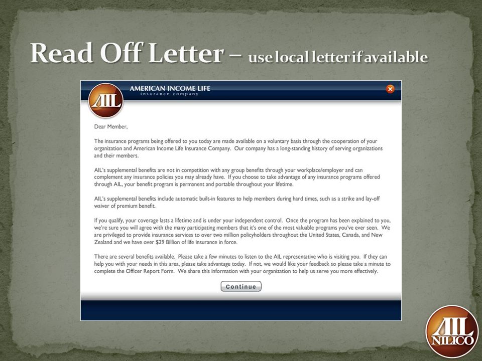 Read Off Letter – use local letter if available