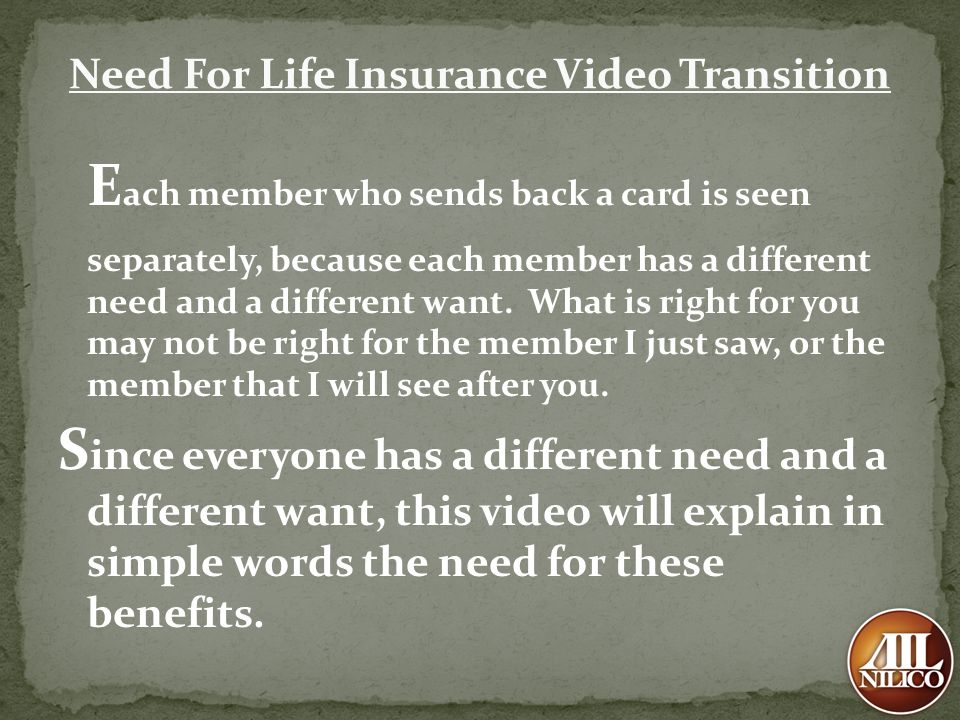 Need For Life Insurance Video Transition