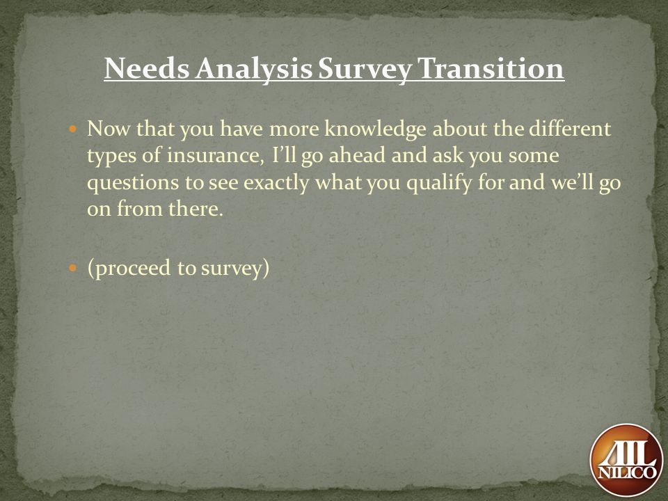 Needs Analysis Survey Transition