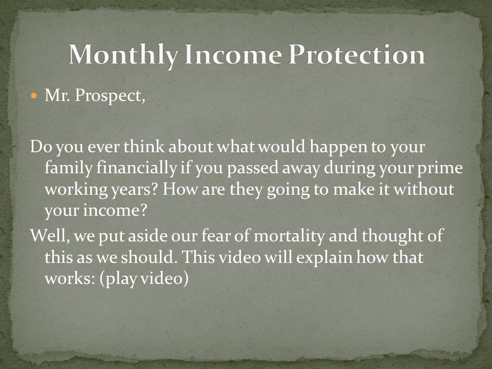 Monthly Income Protection