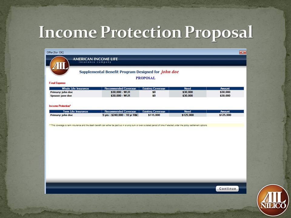 Income Protection Proposal