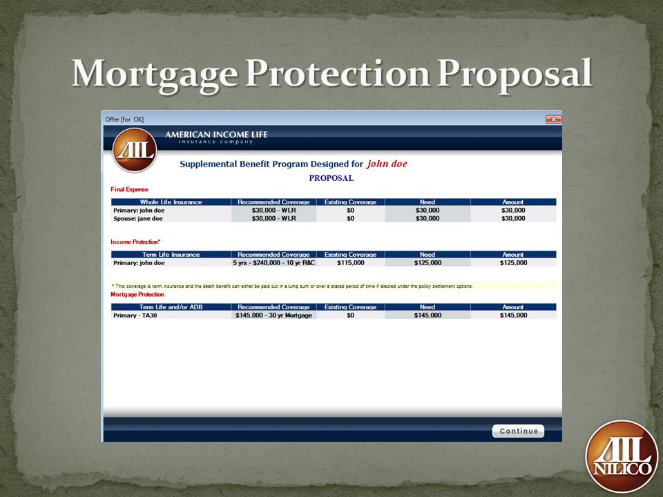 Mortgage Protection Proposal