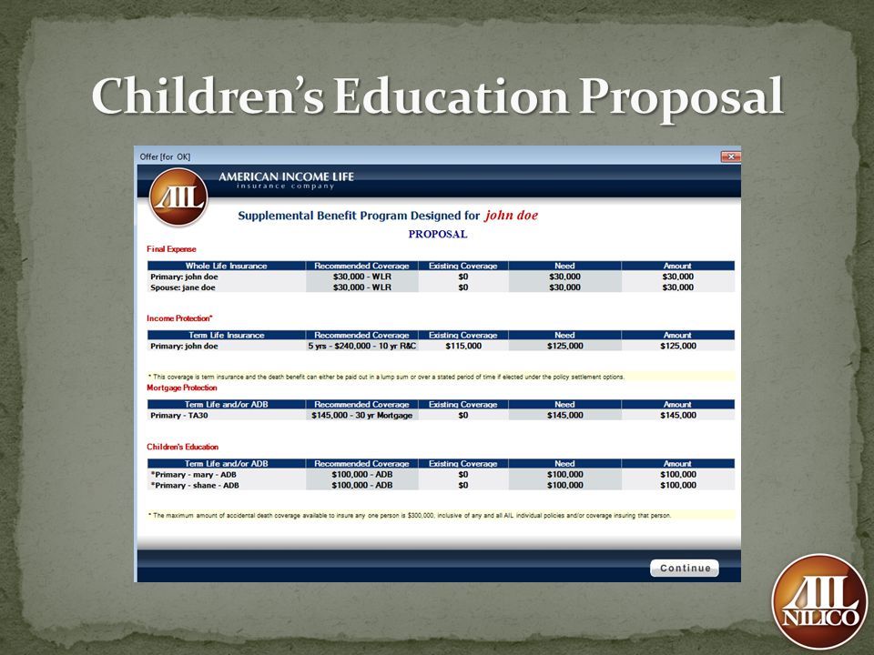 Children's Education Proposal